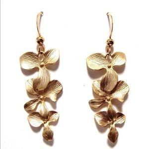Jewelry - Triple Gold Orchid Dangling Earrings